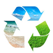 Recycling symbol made of sky, grass and water — Stock Photo