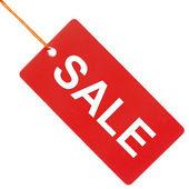Sprzedaż na papier czerwony znacznik na białym tle — Zdjęcie stockowe