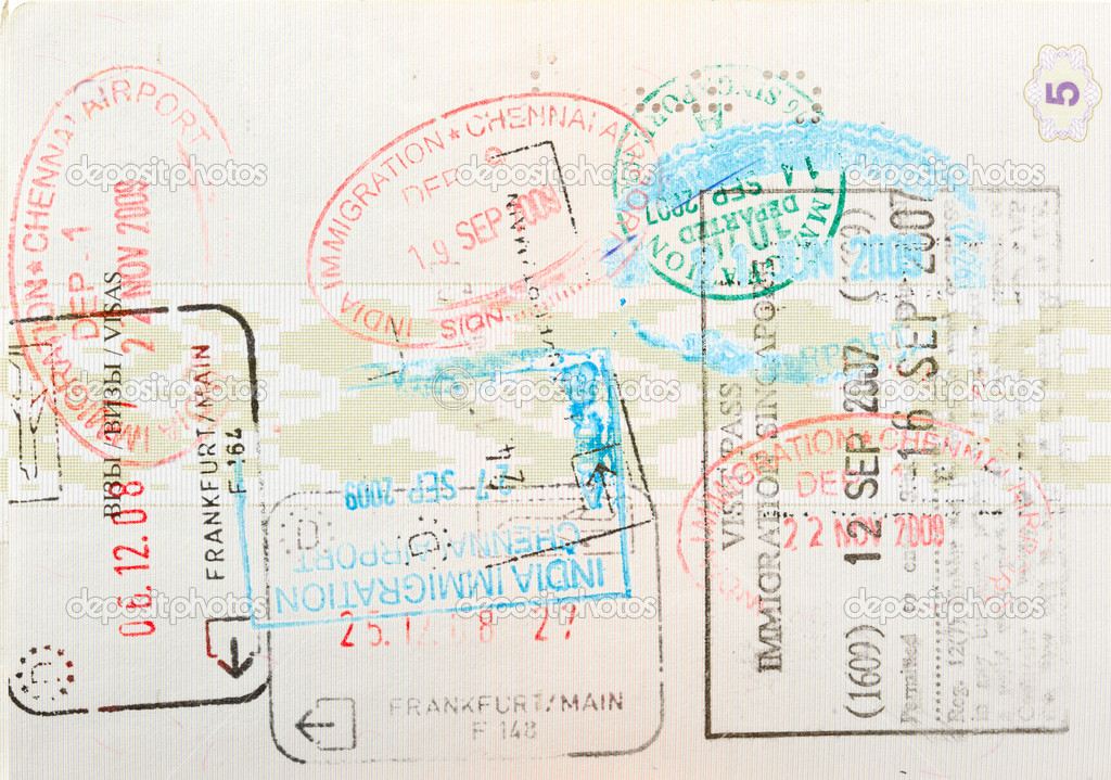 Passport page with immigration stamps close up  Stock Photo #7341440