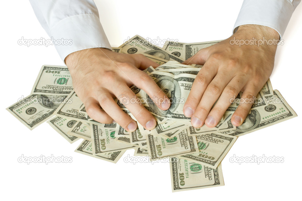 Greedy hands grabbing money lot of dollars  Stock Photo #7341661