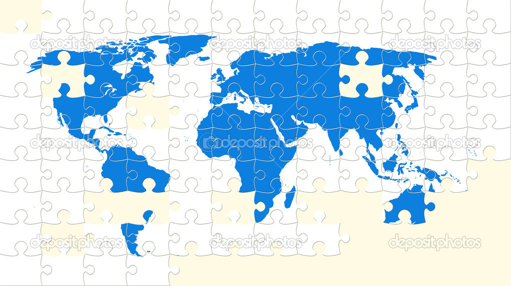 World map puzzle with missing pieces Stock Photo DmitryRukhlenko 7341821