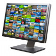 Modern LCD HDTV screen isolated - Stock Photo