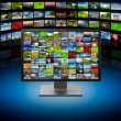 TV with images on multimedia background - Stock Photo