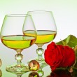 Wine with red rose — Stock Photo