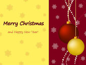 Christmas card with balls and greetings — Vector de stock