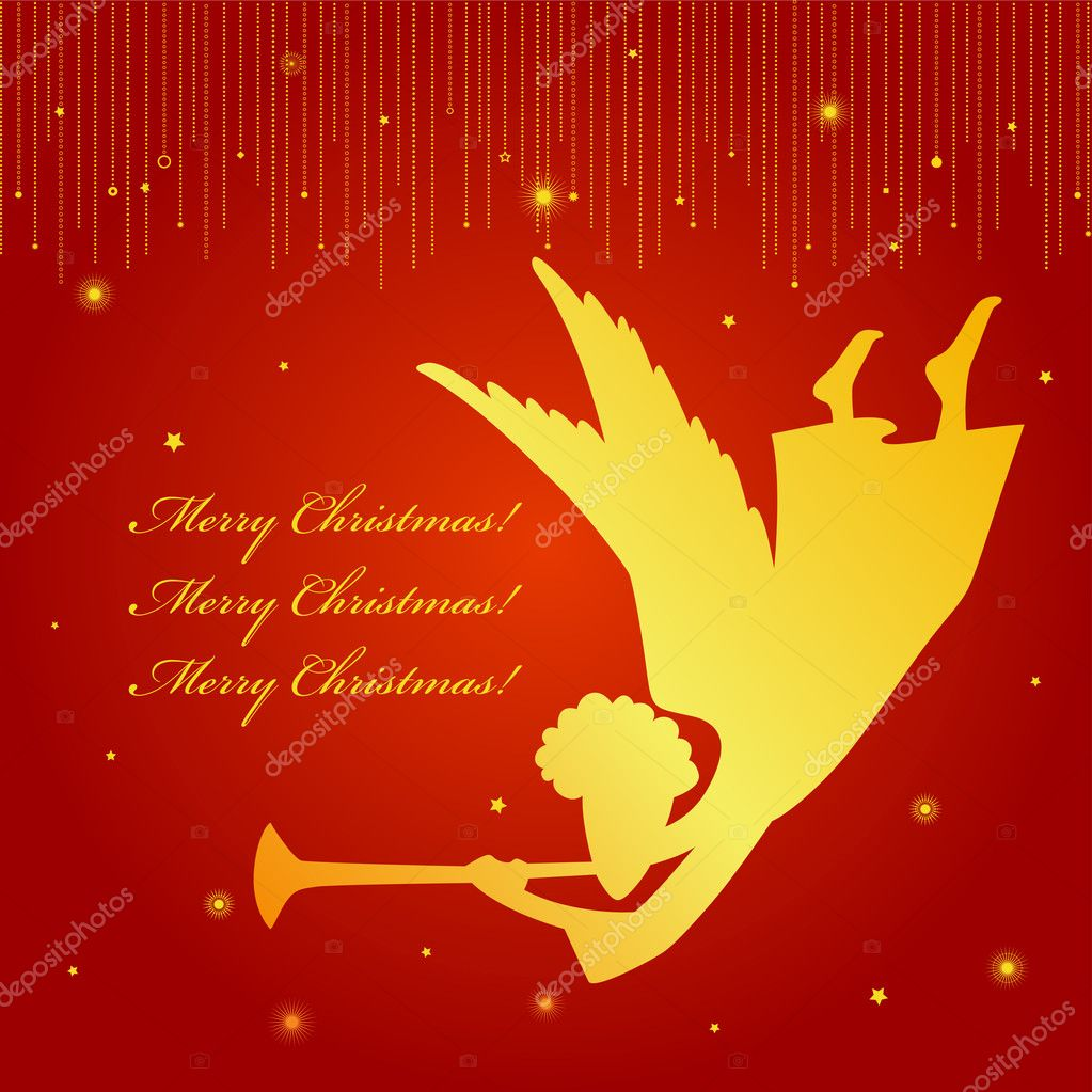 A christmas card with an angel — Stock Vector #7850101
