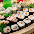 Assorted sushi Japanese food on the ship — Stock Photo