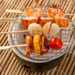 Japanese skewered seafoods vegetables — Stock Photo #6983225