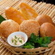 Bread in braided basket — Stockfoto #7399990