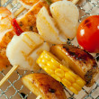 Japanese skewered seafoods vegetables — Stock Photo #7400139