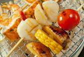Japanese skewered seafoods vegetables — Stock fotografie
