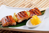 Japanese skewered seafoods — Stock Photo