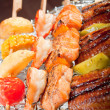Stock Photo: Japanese skewered seafoods