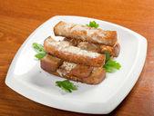 Garlic bread with herbs — Stock Photo