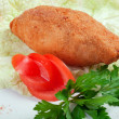 Chicken cutlets with parsley on white plate - Stock Photo