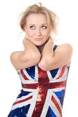 Uśmiechnięta blondynka noszenie koszuli flaga unii — Zdjęcie stockowe
