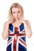 Naštvaná blondýna košili unie vlajky — Stock fotografie