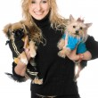 Portrait of joyful young blonde with two dogs — Stock Photo #6916013