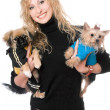 Portrait of joyful pretty blonde with two dogs — Stock Photo