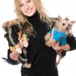 Portrait of joyful pretty blonde with two dogs — Stock Photo #6916018