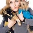 Portrait of attractive young blonde with two dogs. Isolated — Stock Photo #6916036
