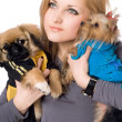 Royalty-Free Stock Photo: Portrait of pretty young blonde with two dogs. Isolated