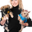 Portrait of smiling pretty young blonde with two dogs — Stock Photo