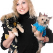 Portrait of smiling pretty blonde with two dogs — Stock Photo