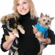 Portrait of smiling pretty blonde with two dogs — Stock Photo #6916044
