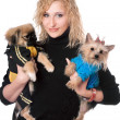Portrait of smiling pretty blonde with two dogs. Isolated — Stock Photo
