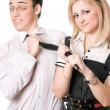 Portrait of pretty funny student pair. Isolated — Stock Photo