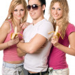 Portrait of three cheerful young — Stock Photo
