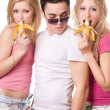 Portrait of three playful young — Stock Photo