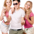 Two pretty blonde woman and young man — Stock Photo