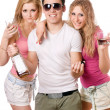 Two beautiful blonde women and young man — Stock Photo #6916401
