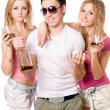 Two attractive blonde woman and young man — Stock Photo #6916409