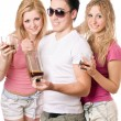 Two cheerful blonde woman and young man — Stock Photo #6916418