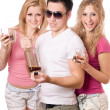 Two joyful blonde woman and young man — Stock Photo #6916421
