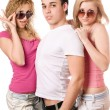 Stock Photo: Two blonde women with handsome young man
