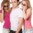 Two sensual women and handsome young man — Stock Photo