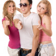 Two smiling sexy women and handsome young man — Stock Photo #6916787
