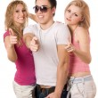 Two smiling sexy women and handsome young man — Stock Photo