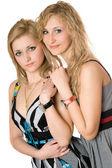 Portret van twee jonge vrouwen glimlachen — Stockfoto