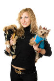 Portrait of cheerful young blonde with two dogs — Stock Photo