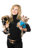 Portrait of happy young blonde with two dogs — Stock Photo