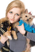 Portrait of beautiful blonde with two dogs. Isolated — Stock Photo