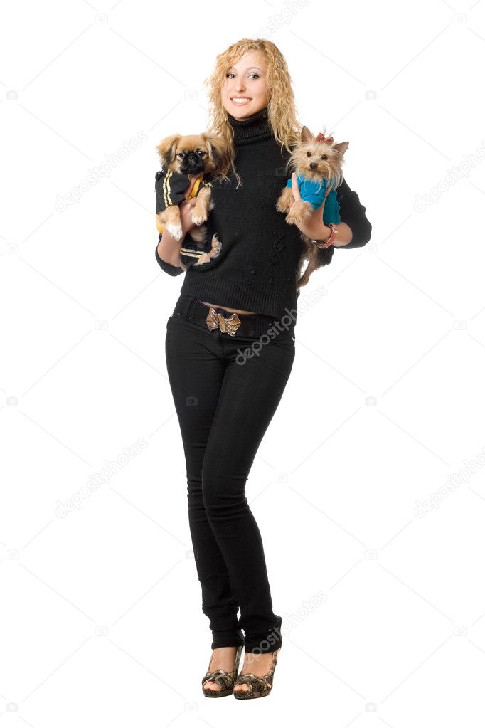 Smiling pretty young blonde posing with two dogs. Isolated — Stock Photo #6915986