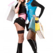 Two attractive young women after shopping — Stock Photo