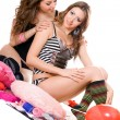 Two playful young girlfriends. Isolated — Stock Photo