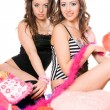 Two attractive young girlfriends. Isolated — 图库照片